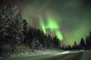 Winter aurora borealis